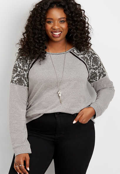 plus size printed textured shoulder pullover