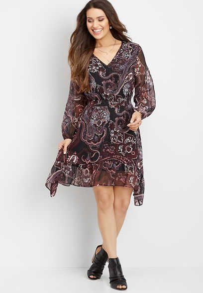 paisley print smocked waist dress