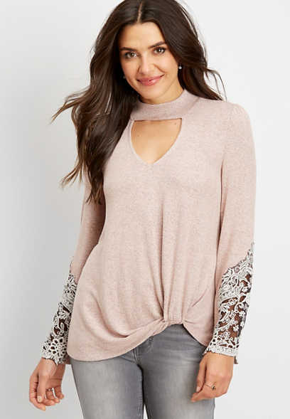 cut out mock neck lace trim top
