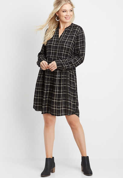 plaid babydoll shirt dress
