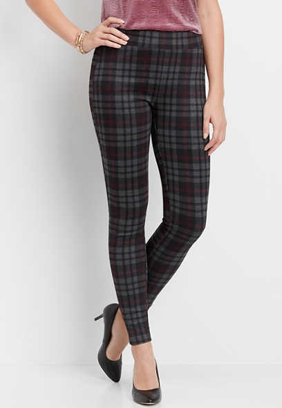 plaid pull on ponte knit legging