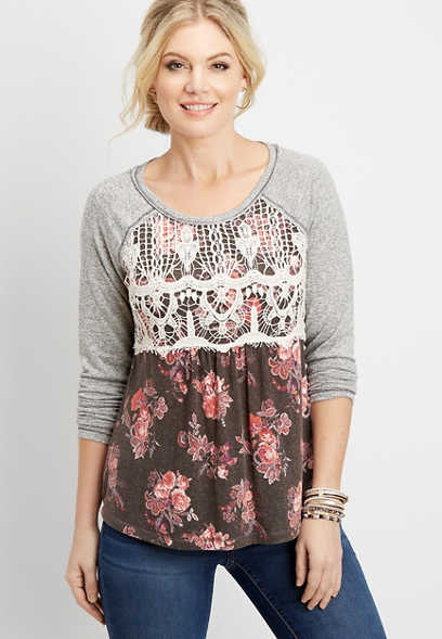 floral lace chest pullover