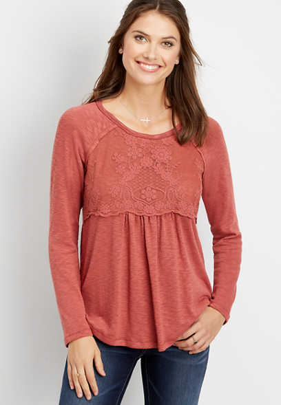 solid lace chest pullover