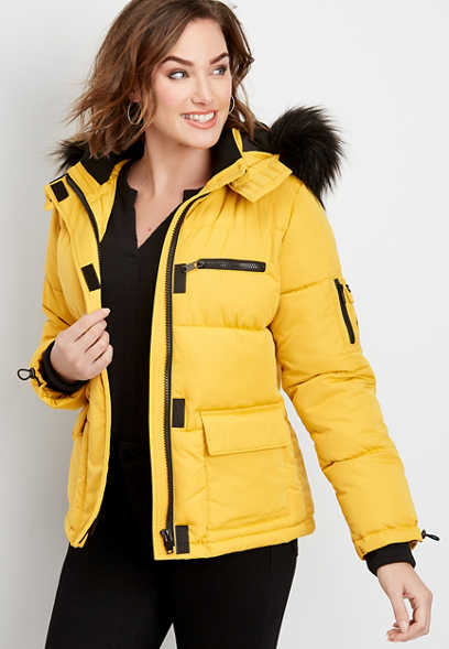 faux fur trim short puffer jacket