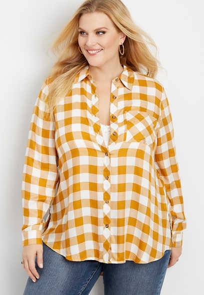 plus size gingham lace up tunic button down shirt
