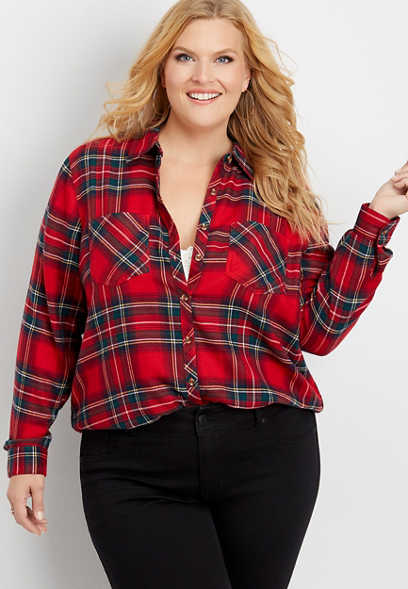 plus size plaid super soft button down shirt
