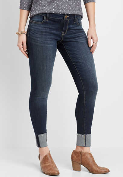 DenimFlex™ low rise dark wash cuffed jegging