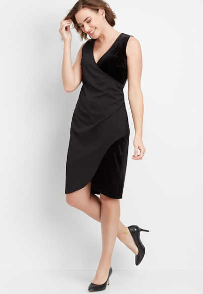 velvet wrap sheath dress