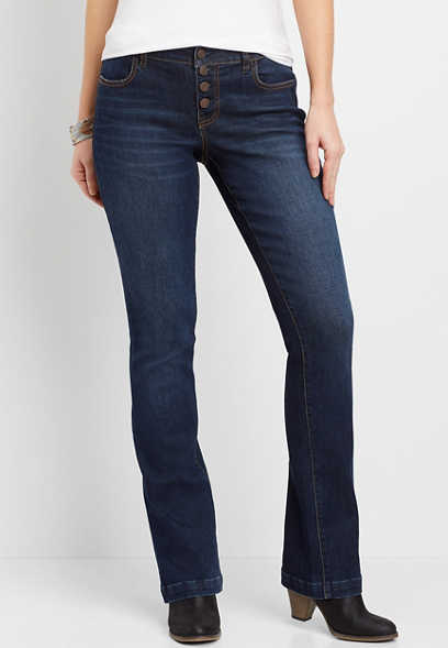 DenimFlex™ Dark Wash Button Fly Slim Boot Jegging