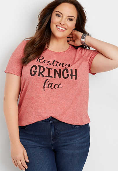 plus size resting grinch face graphic tee