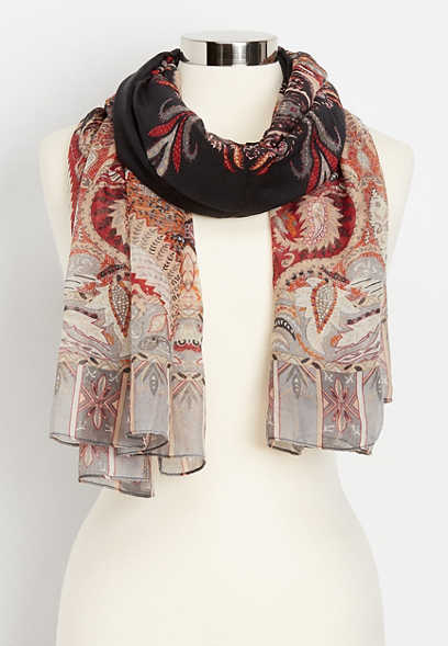 paisley lightweight oblong scarf