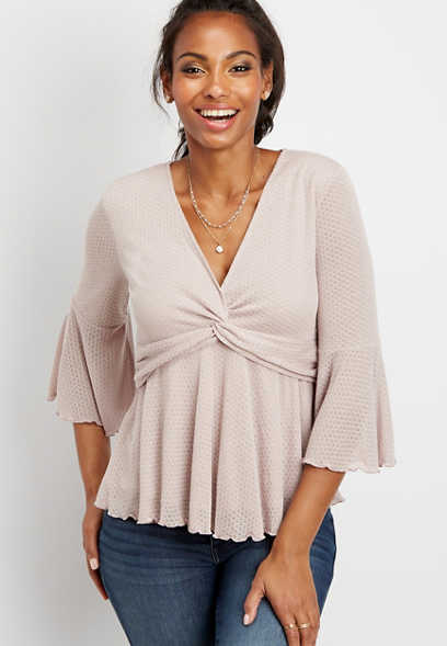 pointelle front twist top