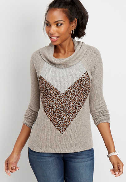 animal print chevron cowl neck pullover