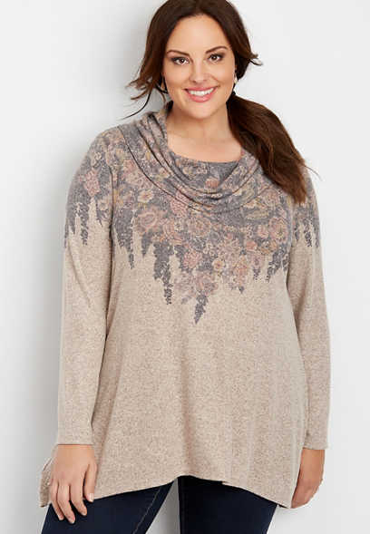 plus size floral cowl neck tunic top
