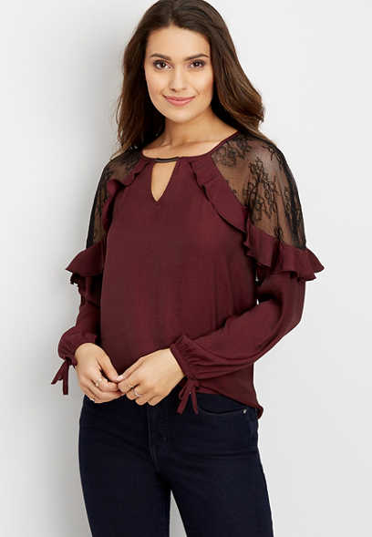 lace shoulder ruffle sleeve blouse
