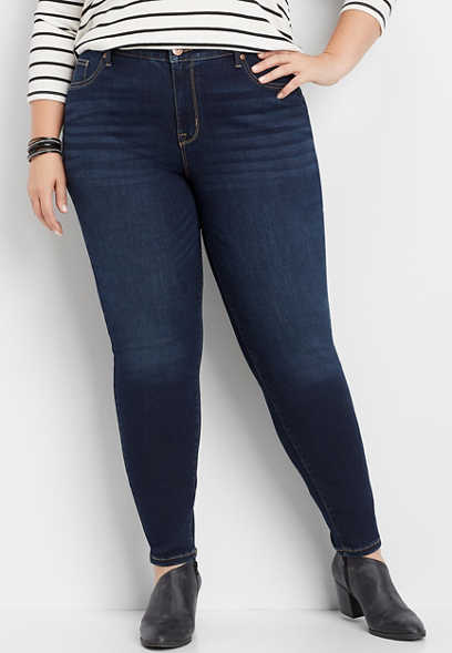 plus size high rise dark wash jegging made with REPREVE®