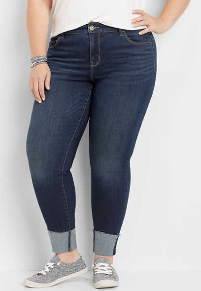 plus size DenimFlex™ dark wash cuffed jegging