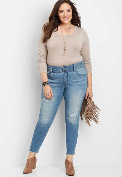 plus size DenimFlex™ super high rise stacked waist destructed jegging