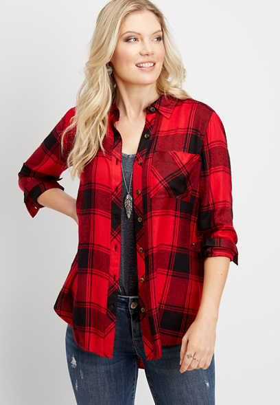plaid lace up tunic button down shirt