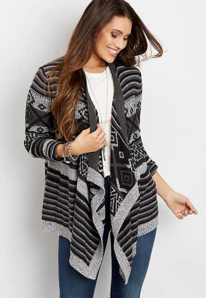 fair isle open front waterfall cardigan