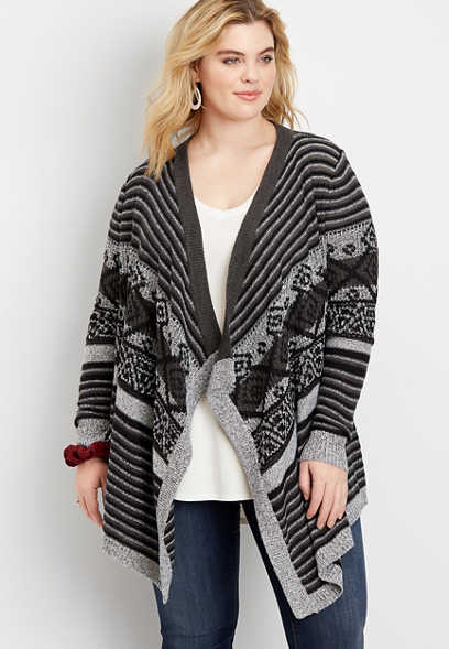 plus size fair isle open front waterfall cardigan