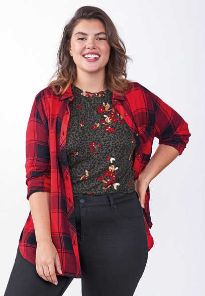 plus size plaid lace up tunic button down shirt