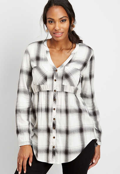 plaid babydoll tunic button down shirt