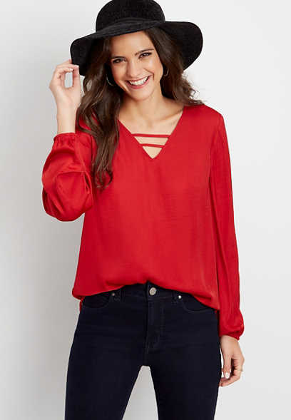 solid strappy neck blouse