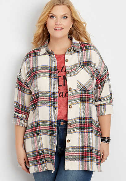 plus size plaid oversized shirt jacket