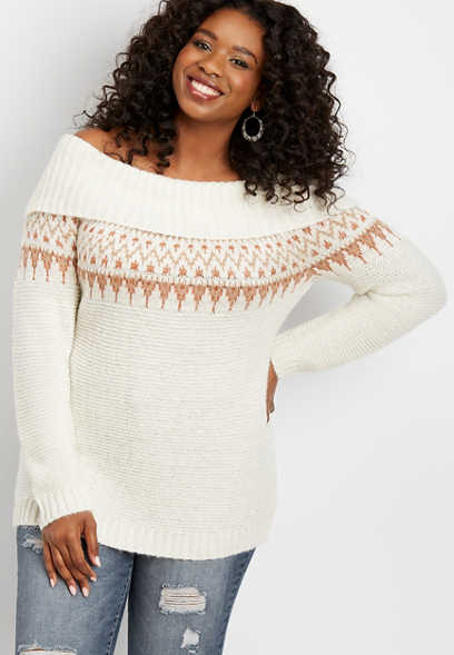 plus size fair isle marilyn neck pullover
