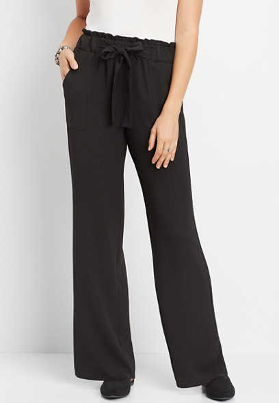 high rise tie waist wide leg pant