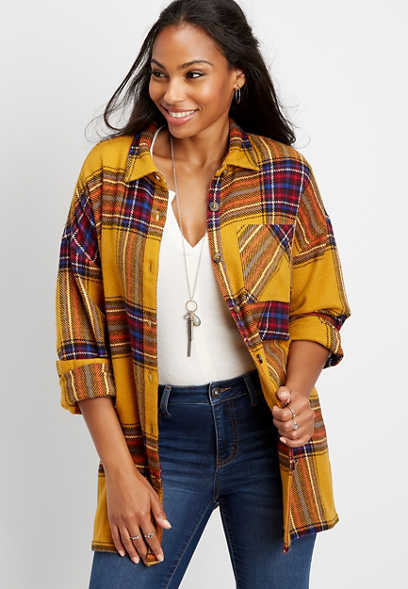 plaid oversized shirt jacket