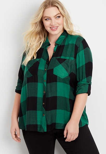 plus size buffalo plaid button down shirt