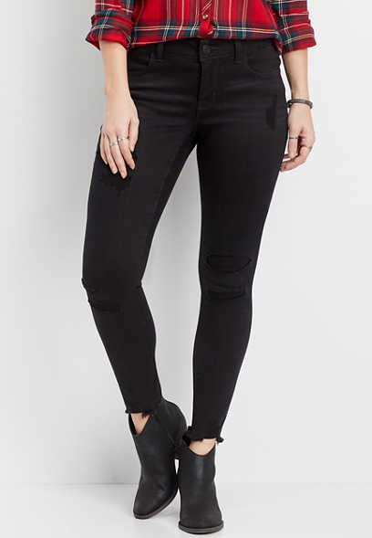 DenimFlex™ backed destructed black jegging
