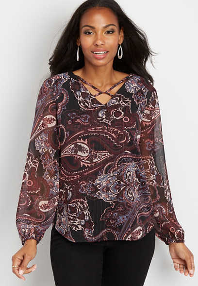 paisley twisted lattice neck blouse