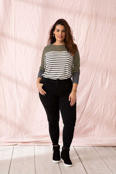 plus size DenimFlex™ backed destructed black jegging