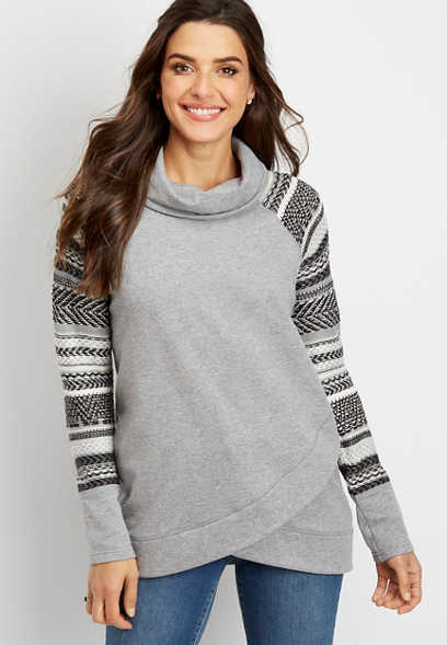 sweater sleeve cowl neck pullover