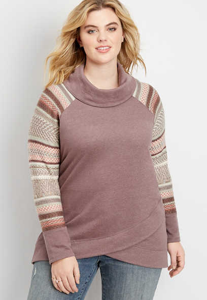 plus size sweater sleeve cowl neck pullover