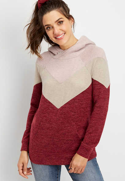 chevron sherpa hooded pullover
