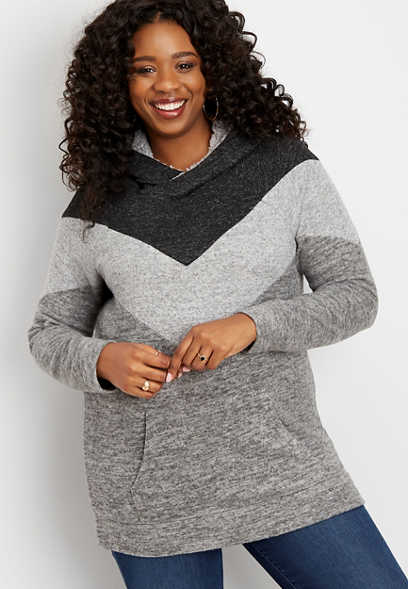 plus size chevron sherpa hooded pullover