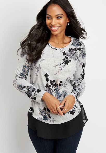 floral chiffon bottom blouse