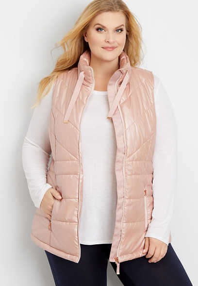 plus size rose gold puffer vest