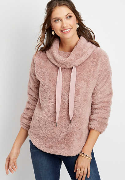 cowl neck sherpa pullover