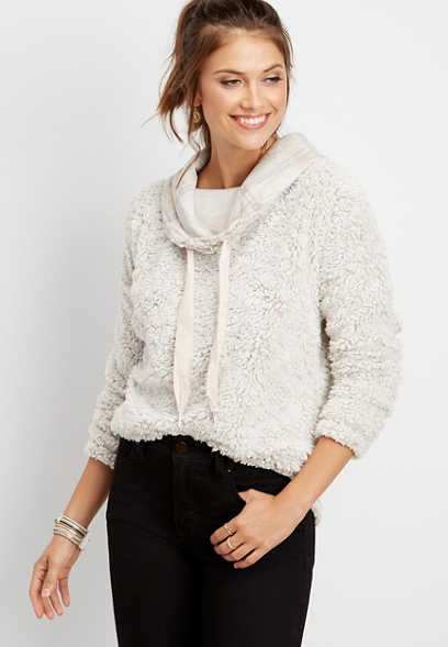 plaid cowl neck sherpa pullover