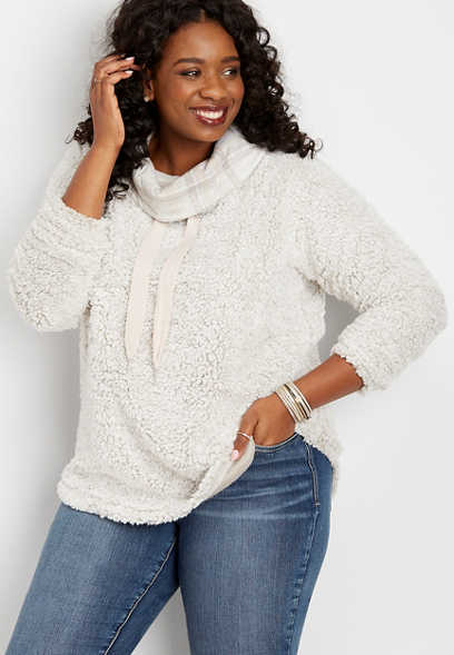 plus size plaid cowl neck sherpa pullover