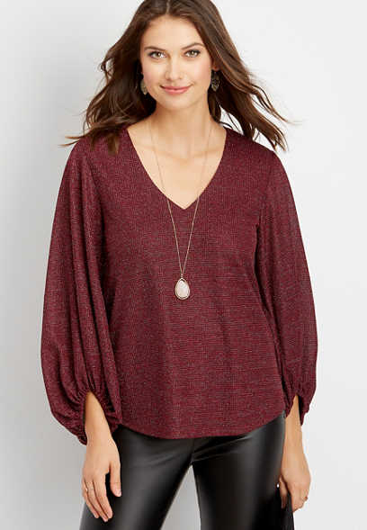 sparkle balloon sleeve blouse