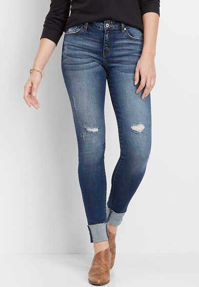 KanCan™ medium wash destructed cuffed skinny jean