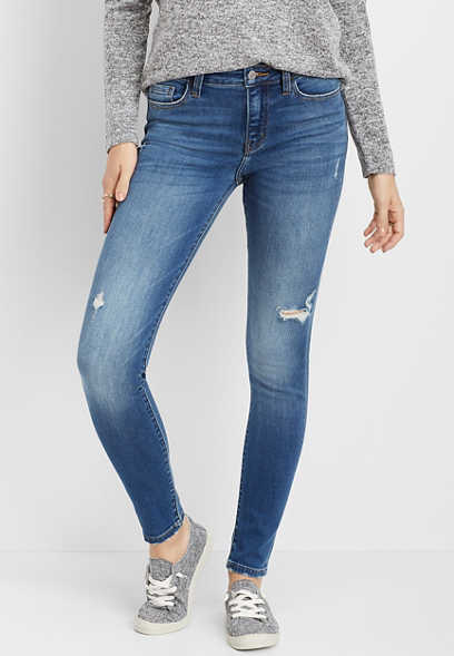 Flying Monkey™ Medium Wash Destructed Stretch Skinny Jean