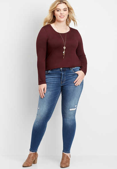 plus size Flying Monkey™ destructed stretch skinny jean
