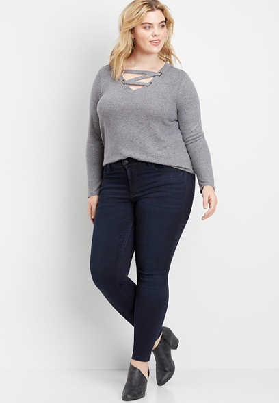 plus size Flying Monkey™ dark super soft skinny jean